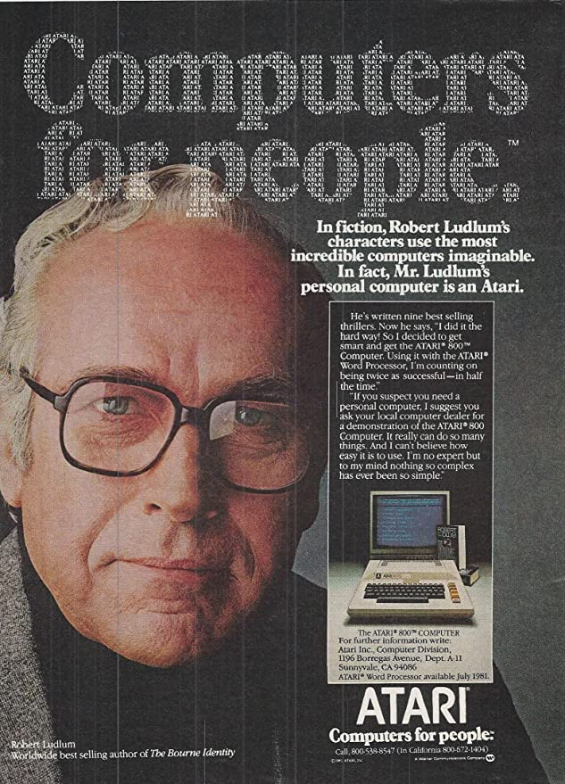 Anuncio del Atari 800 con Robert Ludlum