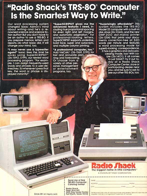Anuncio TRS-80 con Isaac Asimov